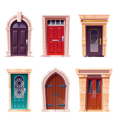 wooden doors medieval and modern entries set vector image