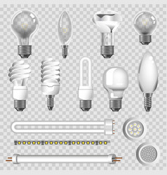 3d lamps types of led bulbs isolated icons vector