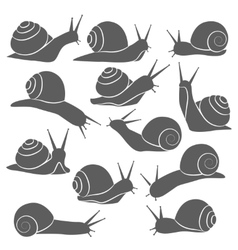 Monochrome Snails Icon Set vector image vector image