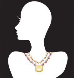 necklace silhouettes vector image vector image