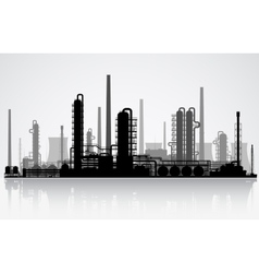 Oil refinery silhouette vector image vector image