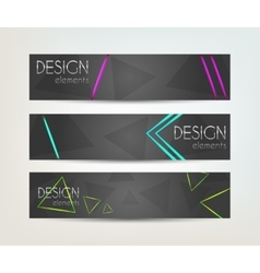 Set of banners with neon design element vector image vector image