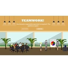 Business meeting concept banner Office interior vector image vector image