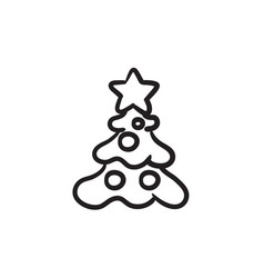 Christmas tree with decoration sketch icon vector