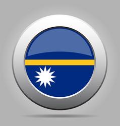 flag of nauru shiny metal gray round button vector image vector image