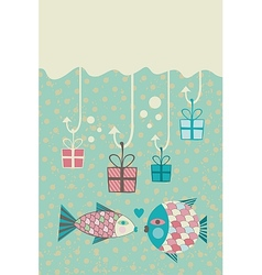 Happy Fish Card vector image vector image