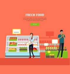 fresh food store concept banner in flat design vector image
