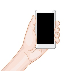 hand holding a white smartphone with blank screen vector image vector image