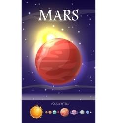 Mars planet sun system universe vector