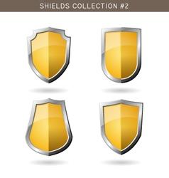 Set of metal orange mediavel shields template on vector image