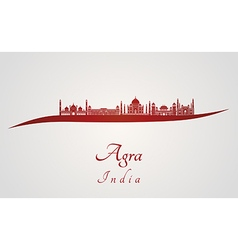 Agra skyline in red vector image