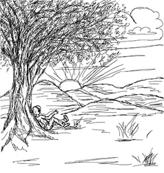 hand drawn of landscape with man resting under the vector image vector image