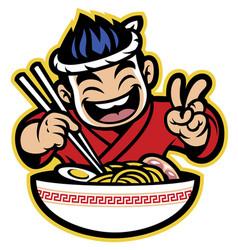 japanese cartoon chef eating the ramen vector image vector image