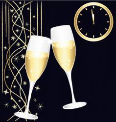 midnight toast of champagne vector image