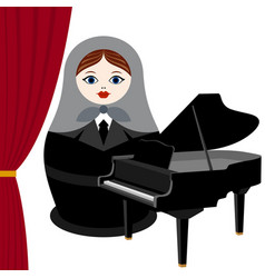 Musician with a grand piano vector