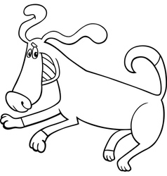 playful dog cartoon for coloring book vector image vector image
