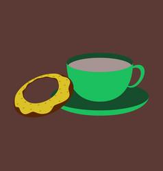 Sweet dessert in flat design cup of tea and donat vector