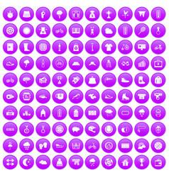 100 woman sport icons set purple vector