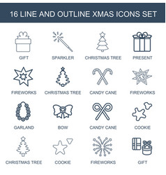 16 xmas icons vector image