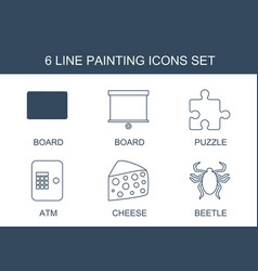6 painting icons vector image