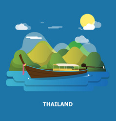 A boat on the river design in thailand vector