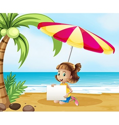 A girl at the beach under the umbrella with an vector image