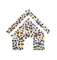a group of people in a shape of house ico vector image