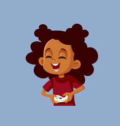 African girl playing video game having fun vector