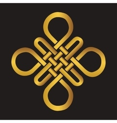 Auspicious endless knotbuddhist symbolgold vector