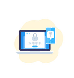 Authentication in two steps flat icon vector