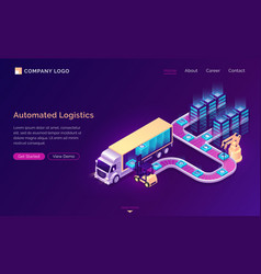 Automated logistics isometric landing page banner vector