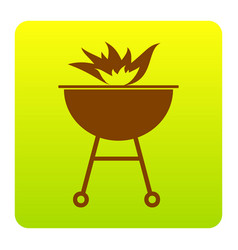 Barbecue with fire sign brown icon at vector