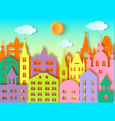 Big citysun and clouds vector