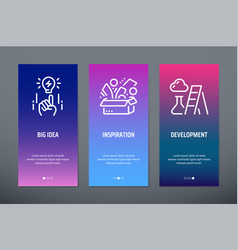 big idea inspiration development vertical cards vector image