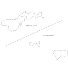 Black White American Samoa Outline Map vector