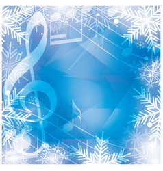 Blue background with music notes and snowflakes vector
