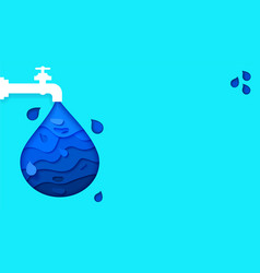 blue banner save water earth recourses ecological vector image