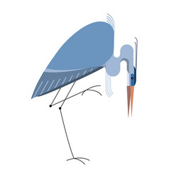 Blue heron on white background vector