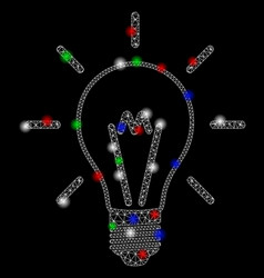 Bright mesh network invent bulb with flare spots vector