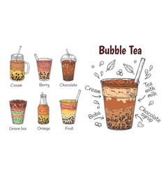 Bubble tea drink yummy chocolate menu smoothie vector