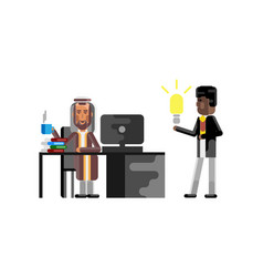 Business meeting arabic manager with businessman vector