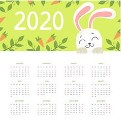 calendar 2020 monthly with cute funny vector image