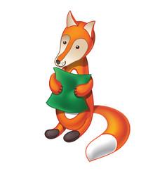 cartoon fox with pillow vector image