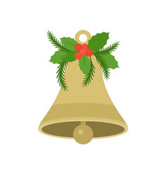 Christmas bell with holly in flat design vector
