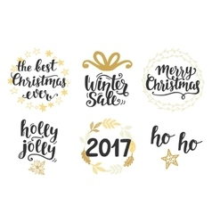 Christmas holidays hand lettering set vector image