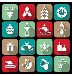 Christmas icons set flat vector