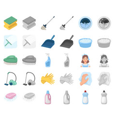 Cleaning and maid cartoonmonochrom icons in set vector