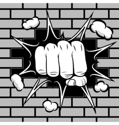 Clenched fist hit the wall emblem vector image