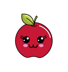 Color kawaii happy apple icon vector