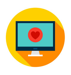 computer medical heart circle vector image